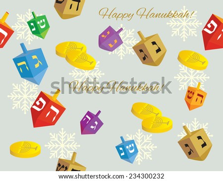Colorful Hanukkah background of dreidels coins, and snowflakes with the words 'happy Hanukkah' - Vector illustration - stock vector