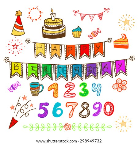 Colorful happy birthday decoration set. Flags fireworks cake coffee numbers and stars for party. - stock vector