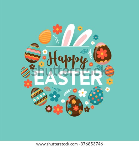 Colorful Happy Easter greeting card with rabbit, bunny and text - stock vector