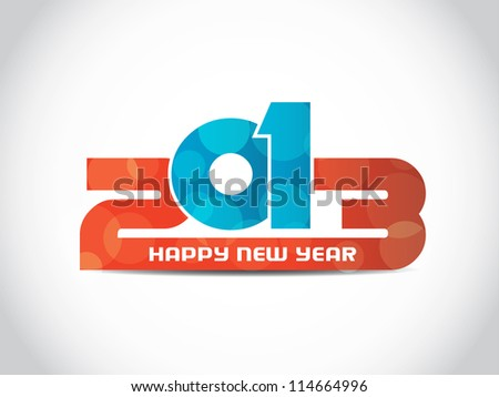 colorful happy new year 2013 design on white background. - stock vector
