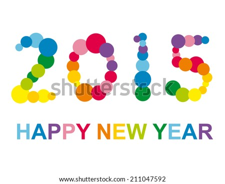Colorful Happy New Year illustration - stock vector
