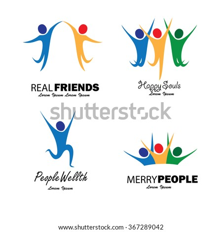 colorful happy people jumping in joy vector set. this graphic also represents children running and playing, excited people, joyous friends, people dancing, celebrating friendship - stock vector