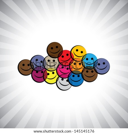 colorful happy smiling kids (children) faces- simple vector graphic. This illustration can also represent play school being merry & having fun, school kids play time, happy people laughing in joy, etc - stock vector