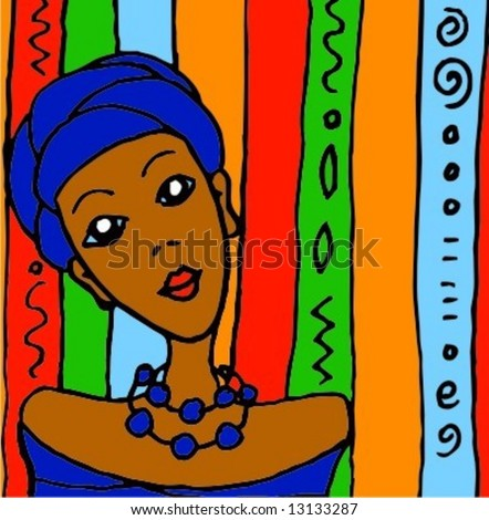 Colorful happy vector illustration: Portrait of african women in traditional clothes on vibrant background