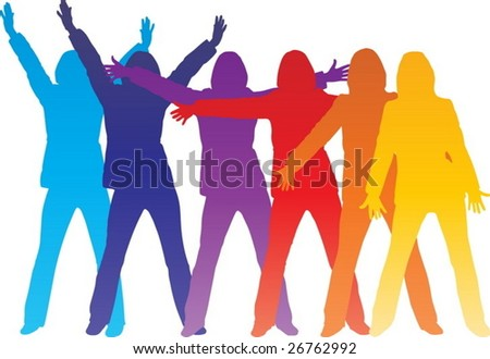 Colorful happy women