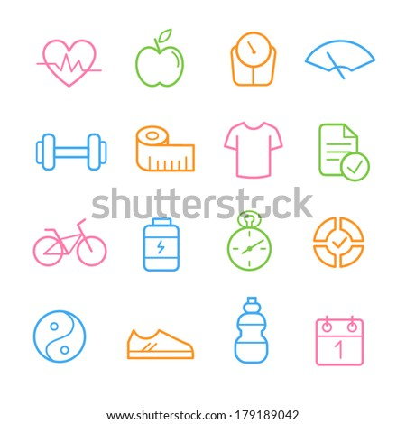 Colorful health and fitness icon set - stock vector