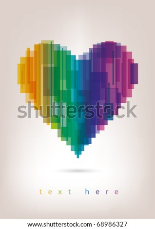 Colorful heart background - stock vector