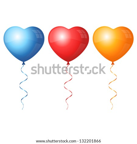 Colorful heart balloons