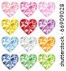colorful heart diamond - stock vector