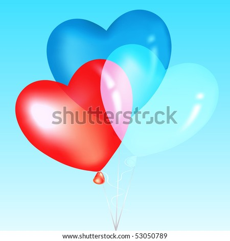 Colorful Heart Shape Balloons, Blue, Red And White, Over Sky - stock vector