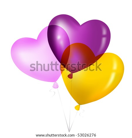 Colorful Heart Shape Balloons, Yellow, Pink And Magenta, Isolated on white. - stock vector