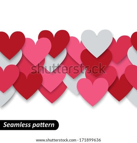 Colorful hearts seamless border. Valentine pattern. Design template for holiday and wedding card, wallpaper, background. Vector illustration EPS 10.