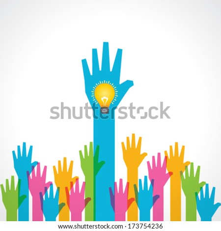 Colorful helping hand background with light-bulb stock vector