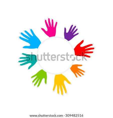 colorful helping hand design vector - stock vector