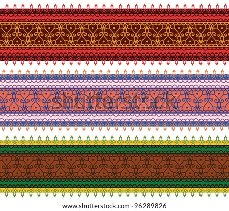 Colorful Henna Banners/ Borders, very elaborate and easily editable - stock vector