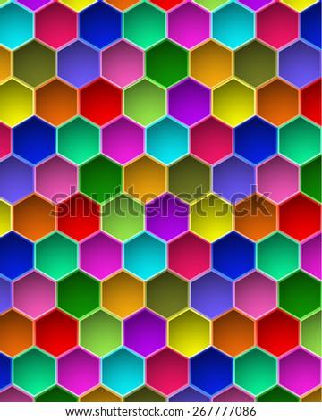 Colorful Hexagon Vector Background - stock vector