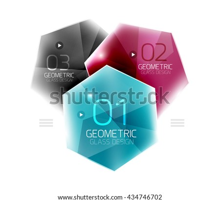 Colorful hexagon web box. Glossy abstract geometric background - stock vector