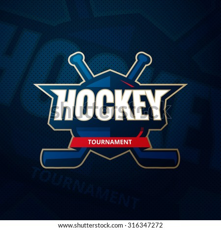 Colorful hockey tournament challenge logo label on shield with two crossed hockey sticks. Vector sport logo design illustration on thematic hockey background - stock vector