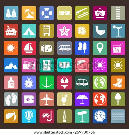 Colorful holiday icon set. Travel vector digital background illustration. Summer infographics.