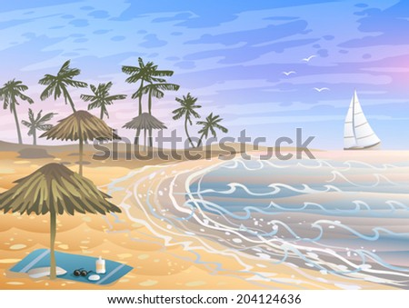 Colorful holiday vacation on a beach with umbrellas and a towel - stock vector