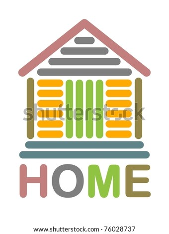Colorful home icon made with line art - stock vector