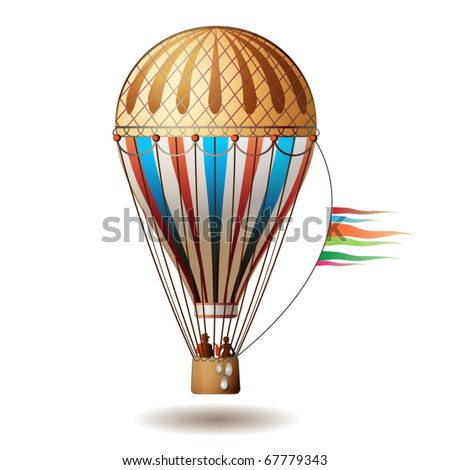 Colorful hot air balloon with silhouettes isolated on white background, vector illustration - stock vector
