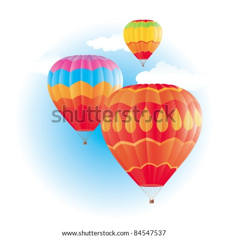 Colorful hot air balloons on blue sky - stock vector