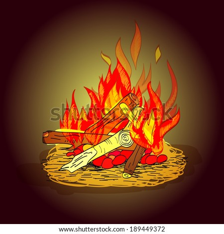 Colorful hot fiery camp fire with stack of wood and stones sketch print vector illustration - stock vector