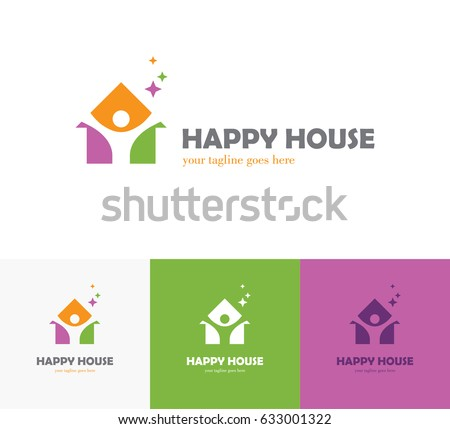 Home Health Care Logo Design. Colorful house icon with abstract happy human silhouette  Health center home care real Preschool Logo Stock Images Royalty Free Vectors