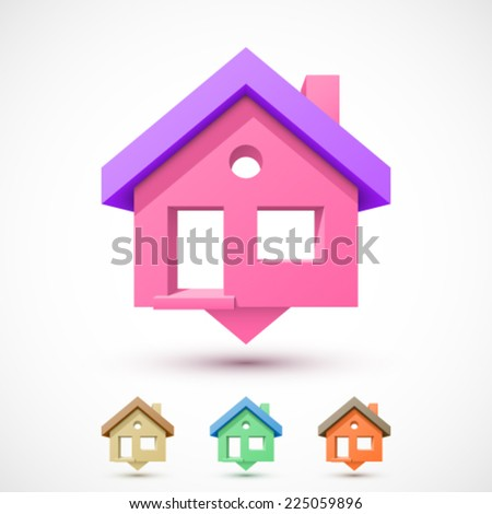 Colorful house pointer. Easy to change colors. - stock vector