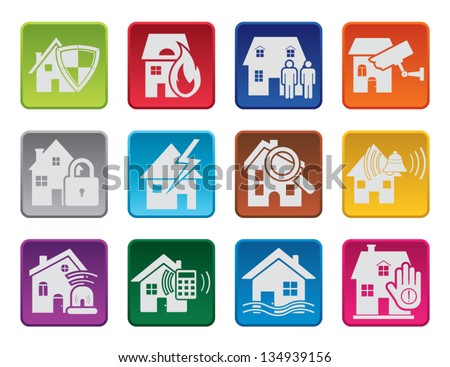Colorful house security icons - stock vector