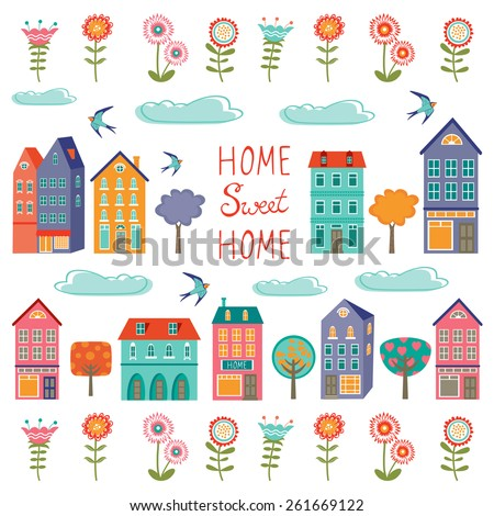 Colorful houses collection. Home sweet home set. vector illustration