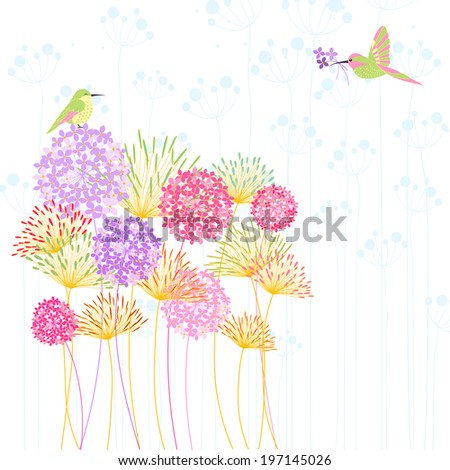 Colorful Hummingbird and Flower - stock vector