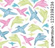 Colorful hummingbirds vector seamless pattern background - stock vector