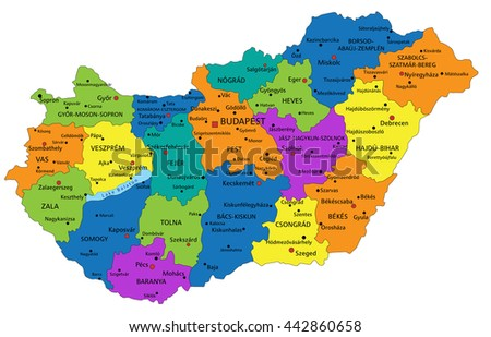 Colorful Hungary Political Map Clearly Labeled Stock Vector