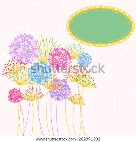 Colorful Hydrangea Flower Garden Party Background - stock vector