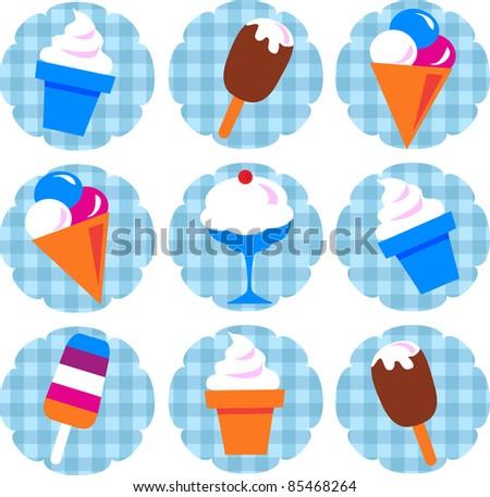 colorful ice-cream set - stock vector