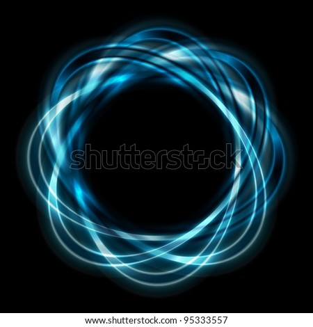 Colorful icon. Bright blue shapes on black background. Eps 10 vector - stock vector