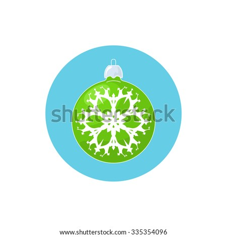 Colorful Icon Christmas  Ball with Snowflake , Colorful Icon Green Ball ,Icon Christmas Tree Decoration, Vector Illustration - stock vector