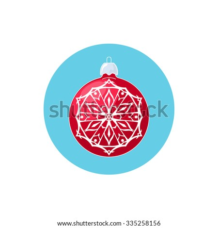 Colorful Icon Red Ball with Snowflake , Icon Christmas Tree Decoration,  Merry Christmas and Happy New Year, Vector Illustration - stock vector