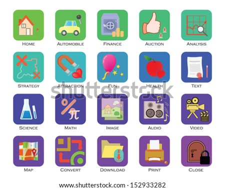 Colorful icon set  - stock vector