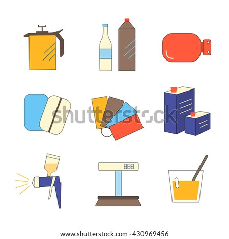 Colorful  icon set selection of enamel - stock vector