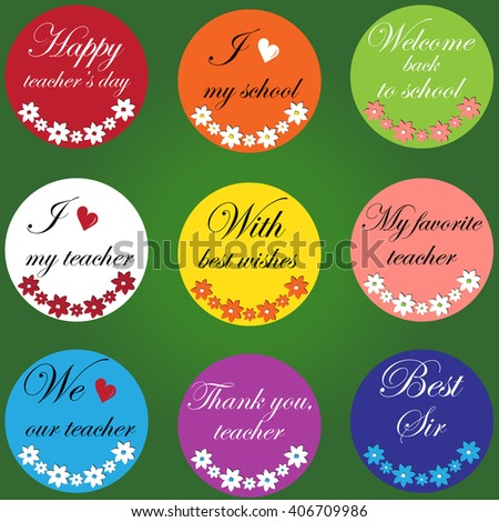Colorful icons for teacher's day. - stock vector