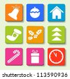 Colorful icons with Christmas items. Eps10 illustration. - stock photo