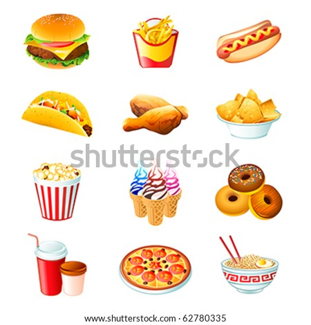 Colorful icons with fast food meals isolated - stock vector