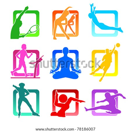 Colorful icons with fitness people silhouettes - stock vector