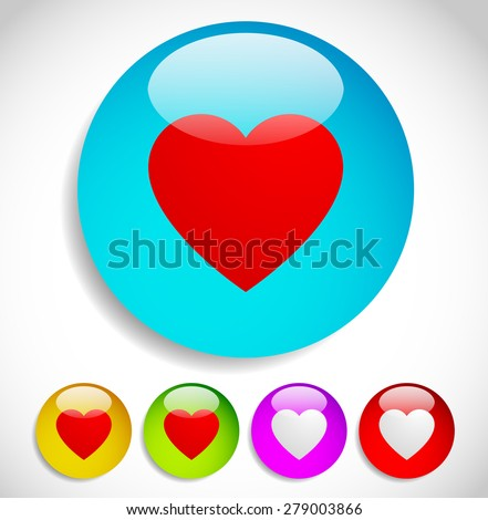 Colorful icons with hearts for love, affection, romance, liking concepts, vector. - stock vector