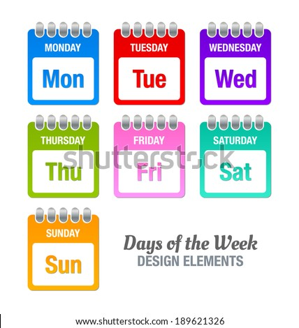 Colorful icons with titles of days of the week isolated on white background - stock vector