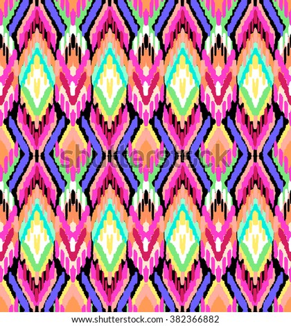 colorful ikat print ~ seamless background - stock vector