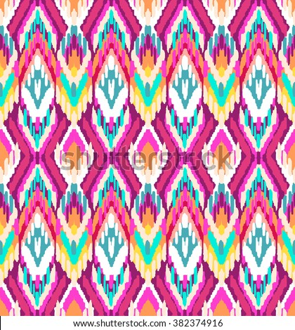 colorful ikat ~ seamless background - stock vector